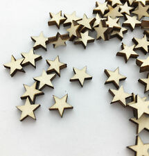 100pcs Wooden Blank Small Star Shapes Embellishments Crafts Scrapbooking YG