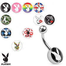 "10 Pc 14g 5/8"" Licensed PlayBoy 10 Different Logo Surgical Steel Navel Rings"