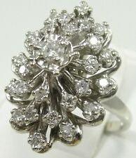 14K White Gold Diamond Cocktail Ring Tiered Round Cut 0.75 TCW Size 7.25 Estate