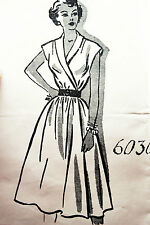 Vintage 1950s 50s Dress Sewing Pattern B32 W26.5 UNBRANDED 6030 Easy 3pc Make!