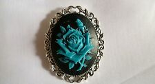 Large Blue Rose Brooch Medieval Pin Pagan Gothic Cameo Wedding Silver tone