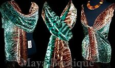 Scarf Wrap Hand Dyed by Maya Matazaro Silk Burnout Velvet Brown Deep Green Ombre