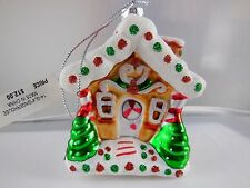 "NWT Holiday Home Blown Glass Gingerbread House Ornament 3.5"" x 3"""