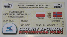 Ticket for collectors World Cup q * Poland - Norway 2001 in Chorzow