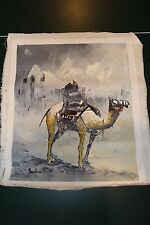 MIDDLE EASTERN PAINTING BEDOUIN ARAB MAN AND CAMEL-GORGEOUS Grey
