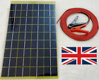 Very Light 10w Solar Panel 500g 12v Charger c/w 4m cable Block Diode & Clips UK