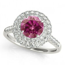 1 Carat Pink Hpht Round Vs WD Solitaire Ring 14k WG Valentine Day Spl.Sale