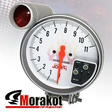 "Jdm Sport 5"" Inch 7 Color White Face 11K RPM Tachometer Led Gauge+Shift Light"