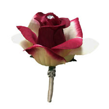 Boutonniere - Shades of burgundy red and cream open rose.  Pin Included