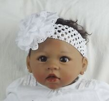 Baby Girl Hairband White  large White Flower Christmas Christening UK