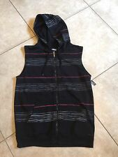 Sleeveless Hoodie- Black-Gray-Red Striped Mens Size Small NWT