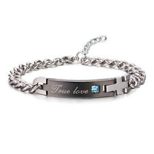 "2017 His and Hers Stainless Steel ""True Love"" Chain Couple Cuff Bangle Bracelet"