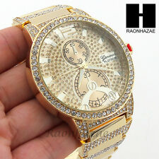 Men Lil Wayne Hip Hop Geneva Platinum 14K Gold Finished Iced Out Watch 196G