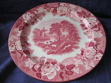 Wood & Sons ENGLISH SCENERY Luncheon Plate (old) Pink - Red (ENOCH)