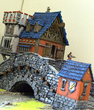 """WARHAMMER age of sigmar WAR GAME SCENERY """"RIVER BRIDGE WITH TOWER"""" PRO PAINTED"""