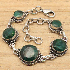 TRADITIONAL JEWELRY BRACELET 7 7/8 Inch ! ROYAL EMARALD Gems ! 925 Silver Plated