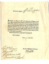 Lettera con Autografo Tipografo Vincenzo Batelli Richiesta Denaro Firenze 1835