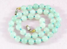 Vintage pretty pale green quartz hand knotted beads necklace