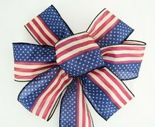 4 inch Wide 10 Yards Wired American Flag Sheer Ribbon