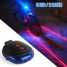 Blue 5 LED 2 Laser Beam Bicycle Bike Cycling Tail Rear Light Safety Warning Lamp
