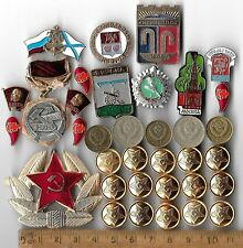 COLD WAR Russia Russian Civil Pin Star Medal Army Lenin CCCP Coin Collection Lot
