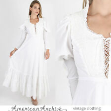 Vintage 70s Gunne Sax Dress Boho Wedding Crochet Lace Corset Hippie Prairie Maxi