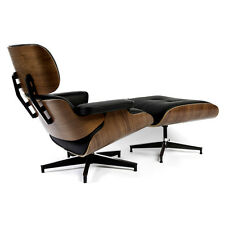 Eames Lounge Chair and Ottoman in Black Semi-Aniline Leather