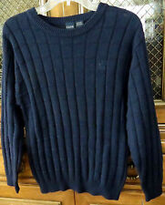 IZOD Navy Blue Pullover Sweater Top 10-12 Missy Stretch 100% Cotton Long Slv $42