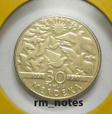 """MALAYSIA  RM1 Commemorative Coins 1987 Ulang Tahun Kemerdekaan Ke-30 """"BU"""""""