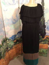 IMAN PLUS 2X BLACK COLOR-BLOCK LAYERED PLEATED ON/OFF SHOULDER FULL LENGTH DRESS