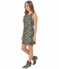 NWT $129 Lucky Brand 100% Silk Mini Dress -B&W Exploded Dots - SZ M / SZ 6/8