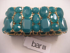 Bar III Gold Stretch Bangle Wide Cuff Bracelet Blue Green Crystals Macy's New