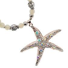 Crystal Rhinestone Sea Shell Starfish Pendant Beads Long Chain Necklace Gift New