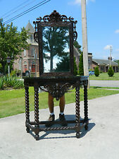 English Oak Barley Twist  Marble Top Console Table and Mirror w/Knights Head