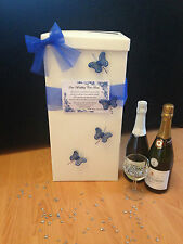 Personalised Wedding Guest Book & Post Box - Blue Butterflies