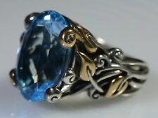 Barbara Bixby Vine & Leaf Sterling Silver 18k Gold Huge BLUE TOPAZ Ring Sz 6