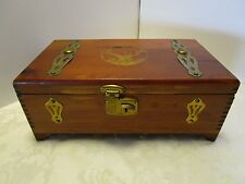 Cedar Wood 100 COUNT CIGAR BOX trunk Buck Deer mirror brass 11.5 long Vintage