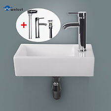 Bathroom Ceramic Vessel Sink Wall Mount Vanity Rectangle Basin w/ Chrome Faucet