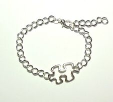 Autism Awareness Puzzle Piece Charm Bracelet Silver Adjustable Jewelry Aspergers