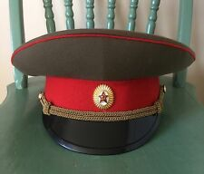 Vintage Soviet Russian Military Visor Hat - USSR Cap Army Badge Uniform Soldier