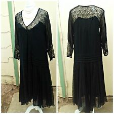 1920s 20s Vintage Dress Black Lace Flapper Dress As Is  Medium  Large