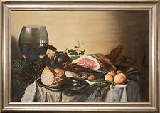 Beautiful Still Life Oil Painting on Canvas, Food & Drink, Illegibly Signed NICE
