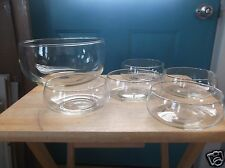 Clear Glass Salad Bowl and Five Matching Smaller Bowls