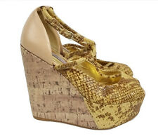 TED BAKER Shoes Size 4 Wedges Pink w/Yellow Snake Skin Designer Summer Holiday
