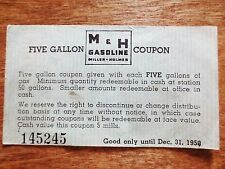 1950 Miller Holmes M&H Gasoline Five Gallon Gas Card Coupon Ad Store Locations