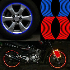 CAR MOTORCYCLE 16 STRIPS RED BLUE REFLECTIVE RIM STRIPE WHEEL DECAL TAPE STICKER