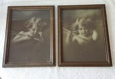 Antique Vintage Framed Cupid Pictures Awake Asleep