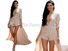 GORGEOUS PINK NUDE SATIN DEEP PLUNGE MAXI CAPE ROMPER PLAYSUIT DRESS 12 UK