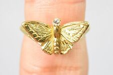 Handmade 18k Gold Diamond Butterfly 3D Band Ring 4.2g .025 tcw E-VS1 4 (Sizable)