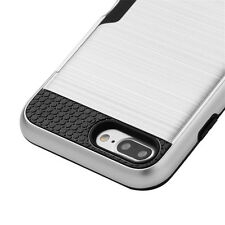 For iPhone 7+ Plus - SILVER ACRYLIC METAL HARD CASE COVER w/ CREDIT CARD ID SLOT